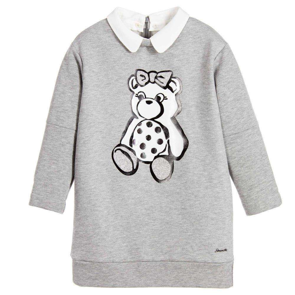SIMONETTA MINI GIRLS GREY SWEATSHIRT JERSEY DRESS WITH BEAR 3 YEARS