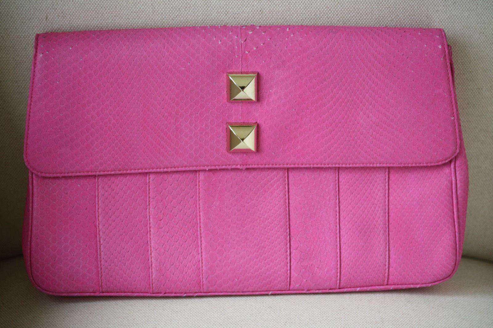 STARK AT HARRODS PINK PYTHON STUDDED OVERSIZED CLUTCH BAG