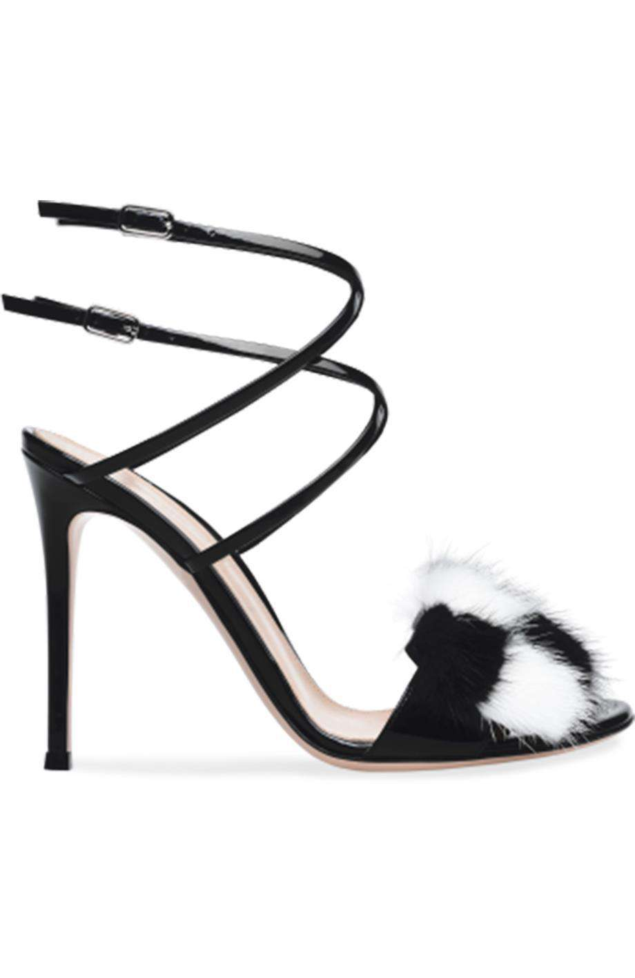GIANVITO ROSSI ZOE FUR TRIMMED PATENT LEATHER SANDALS EU 38.5 UK 5.5 US 8.5