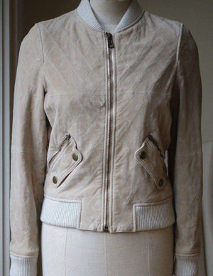 CHLOÉ QUILTED SUEDE BOMBER JACKET FR 34 UK 6