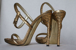 TOM FORD GOLD PYTHON SANDALS HEELS EU 37.5 UK 4.5 US 7.5