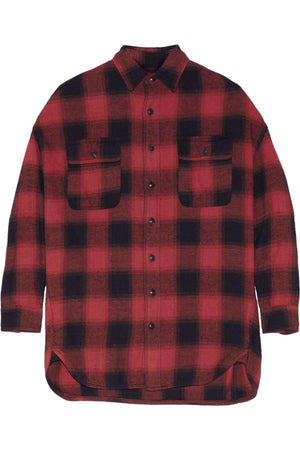 R13 X-OVERSIZED PLAID COTTON FLANNEL SHIRT SMALL