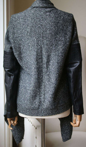 MAJE LEATHER SLEEVE KNIT CARDIGAN SMALL
