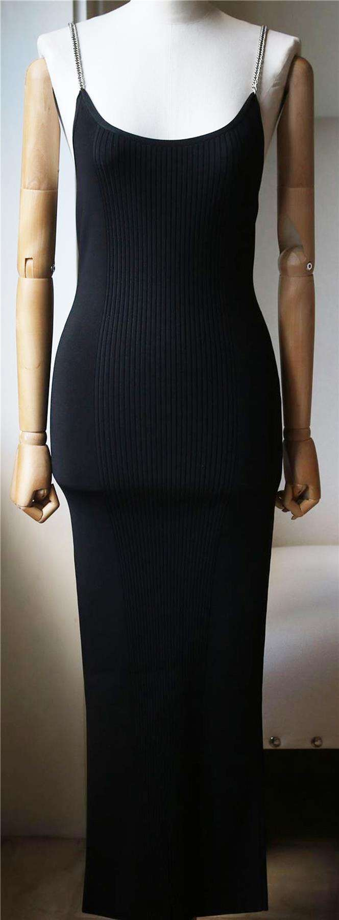 ALEXANDER WANG RIBBED TANK DRESS WITH CHAIN STRAPS SMALL