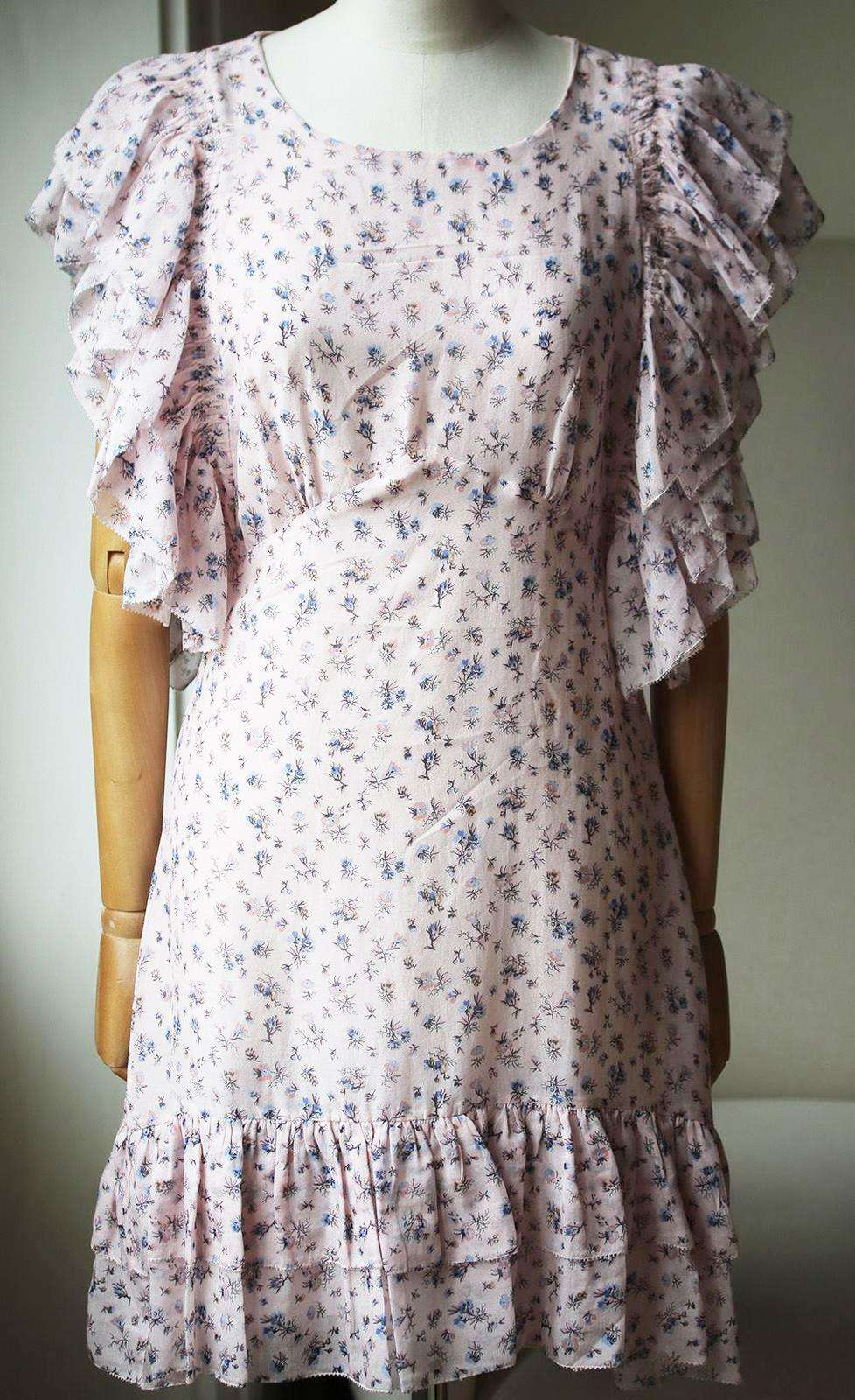 LOVESHACKFANCY EMMY FLORAL PRINT SILK GEORGETTE MINI DRESS US 2 UK 6