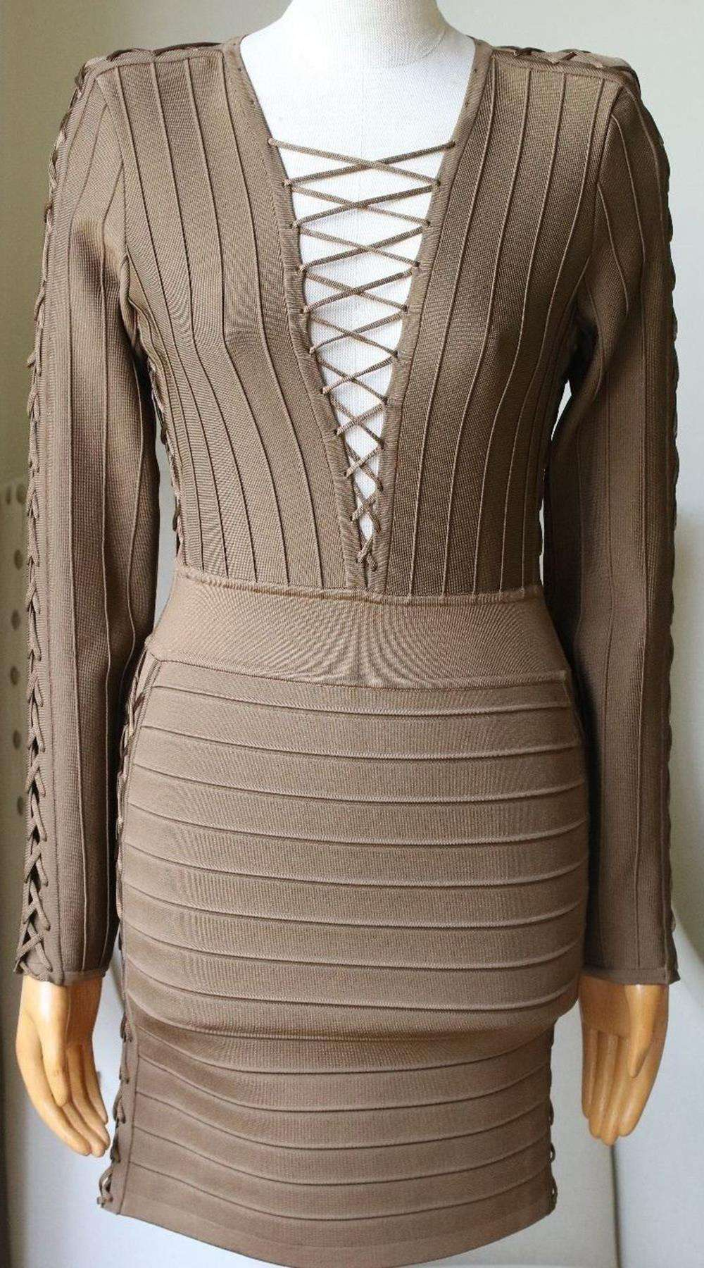 BALMAIN LACE UP RIBBED STRETCH KNIT MINI DRESS FR 38 UK 10