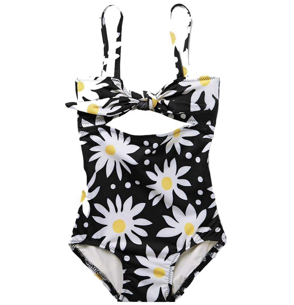 SOLID AND STRIPED KIDS GIRLS FLORAL SWIMSUIT 6 YEARS