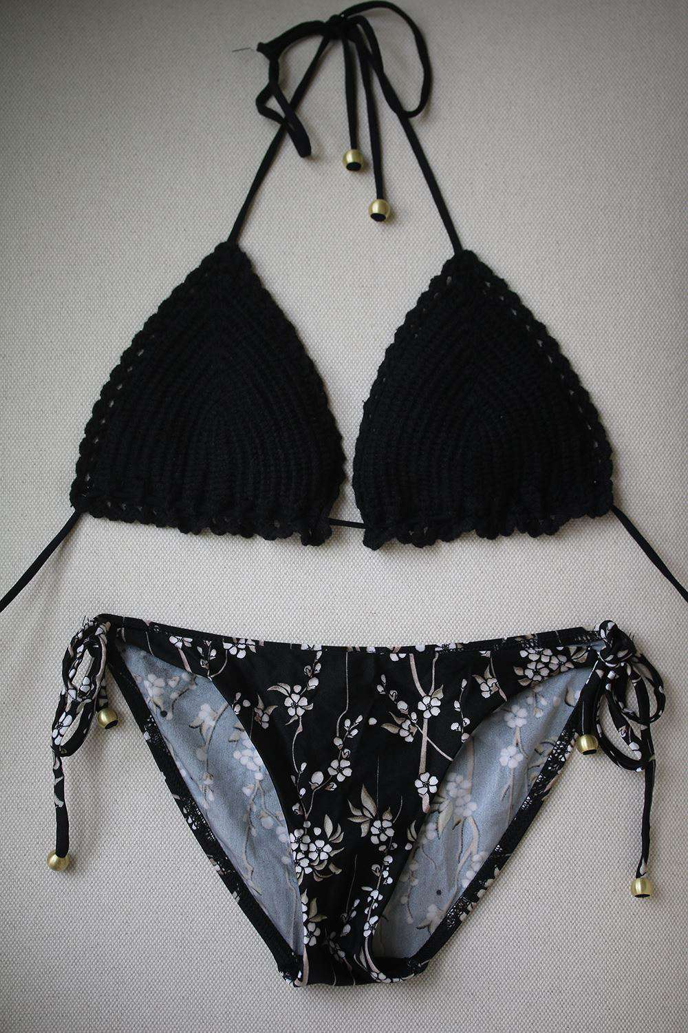 ZIMMERMANN SAKURA CROCHET TRIANGLE BIKINI UK 12