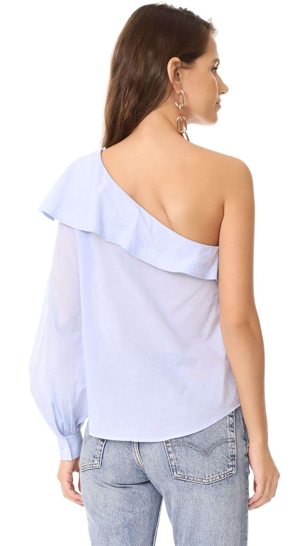 A.L.C. BRIELLE ONE SHOULDER RUFFLED TOP US 8 UK 12