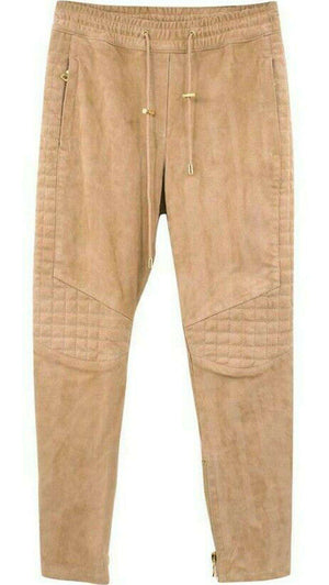 BALMAIN QUILTED SUEDE TROUSERS FR 36 UK 8