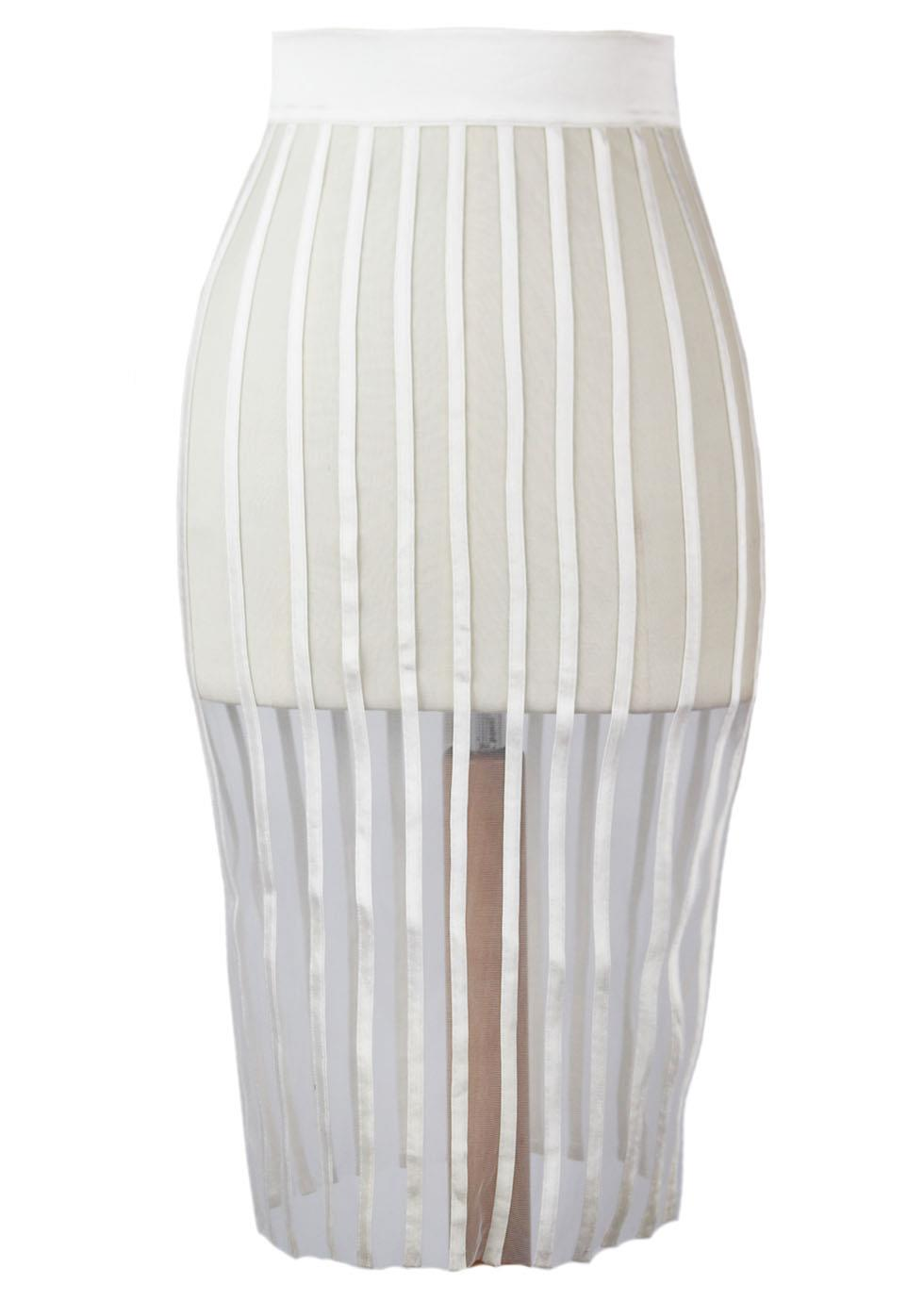 LA PERLA SILK SATIN TRIMMED MESH SKIRT IT 40 UK 8