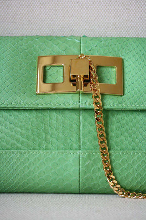 STARK AT HARRODS GREEN PYTHON LEATHER CLUTCH BAG