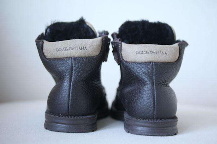 DOLCE & GABBANA BABY BOYS BROWN LEATHER BOOTS EU 22 UK 5