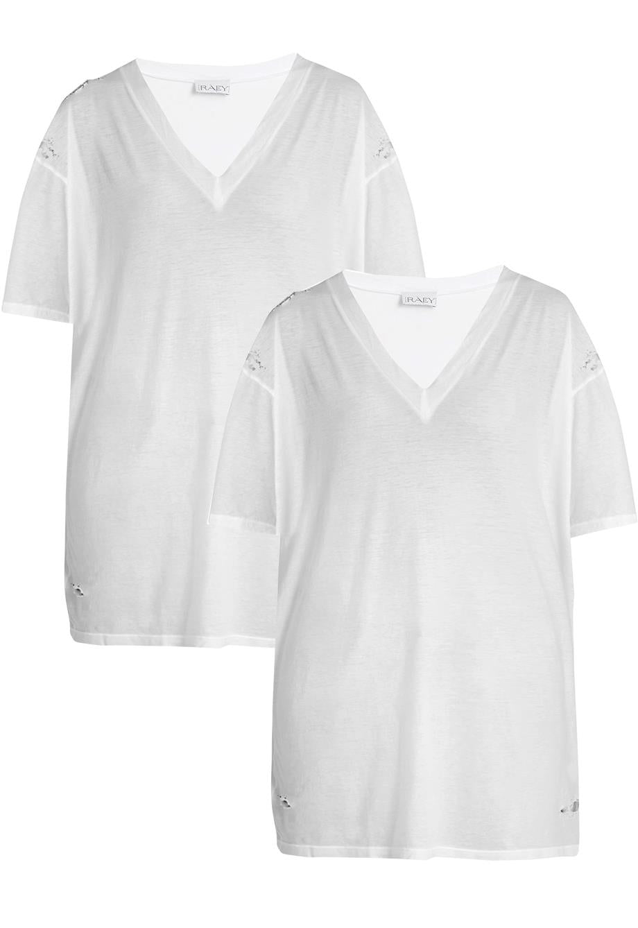 RAEY SET OF TWO OVERSIZED DISTRESSED COTTON JERSEY T-SHIRT UK 10