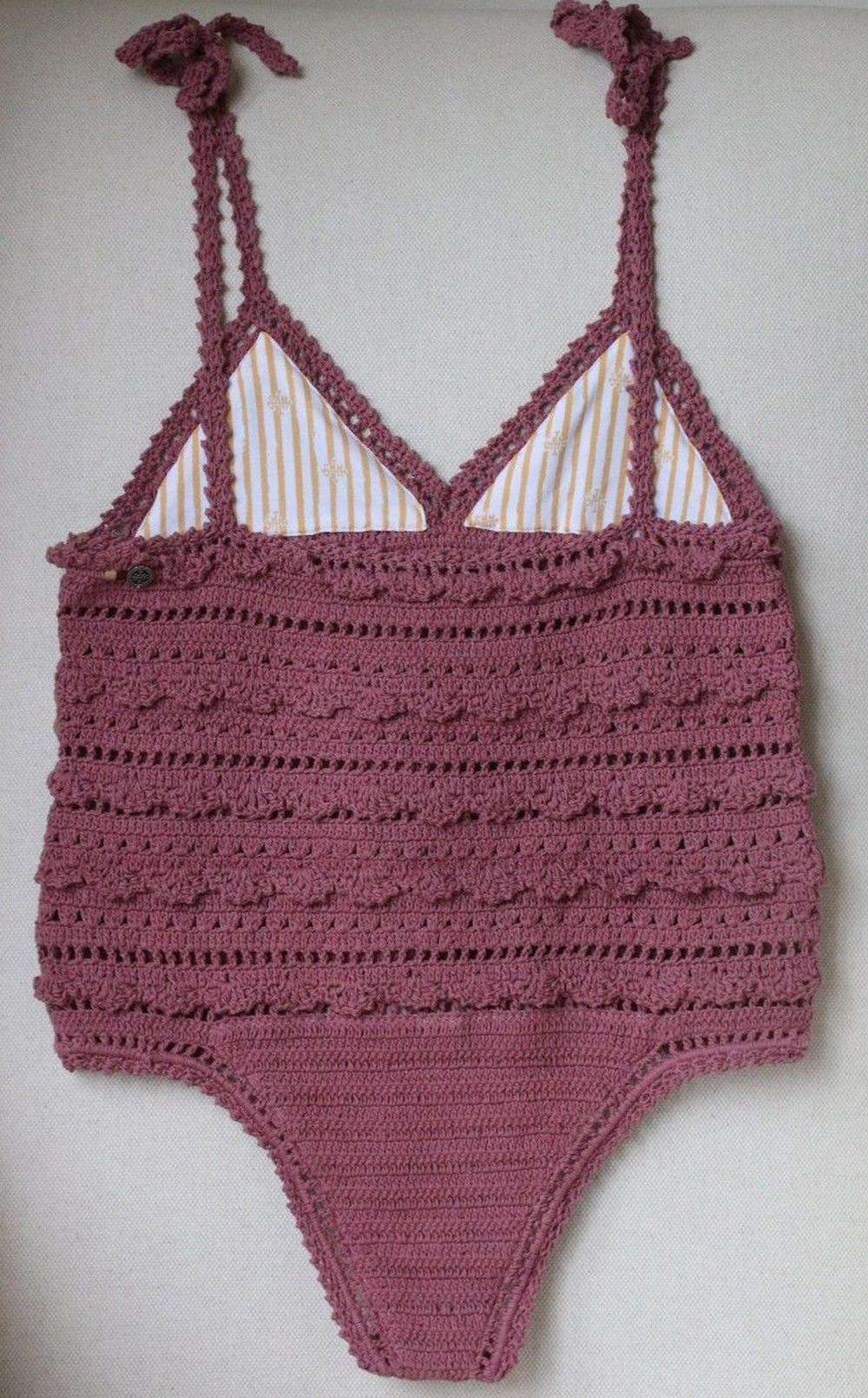 SHE MADE ME AMIRA CROCHETED COTTON SWIMSUIT M/L