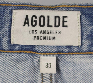 AGOLDE DISTRESSED HIGH WAISTED DENIM SHORTS W30 UK 12