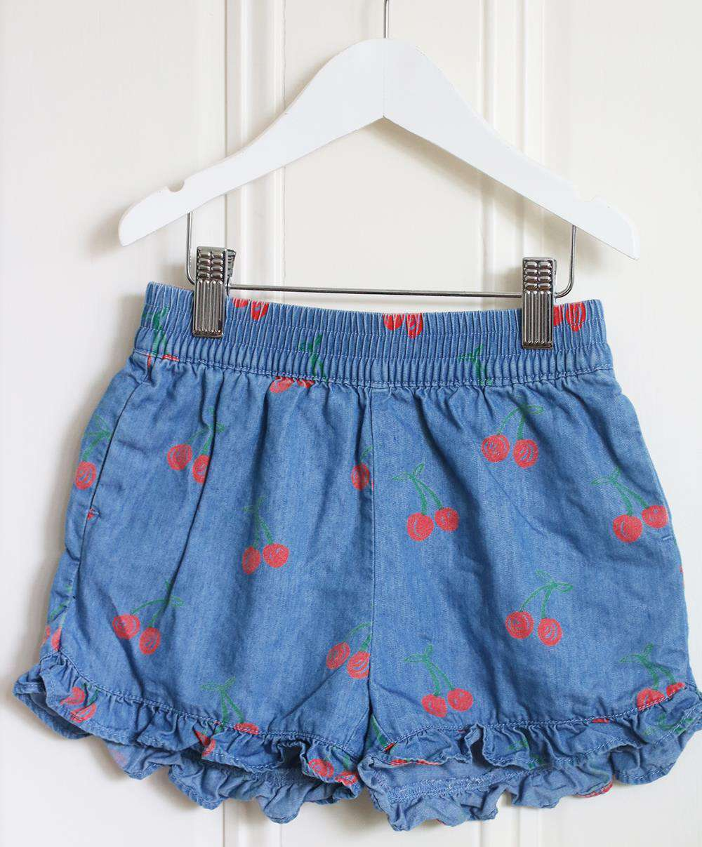 STELLA MCCARTNEY KIDS GIRLS CHERRY PRINT CHAMBRAY SHORTS 5 YEARS