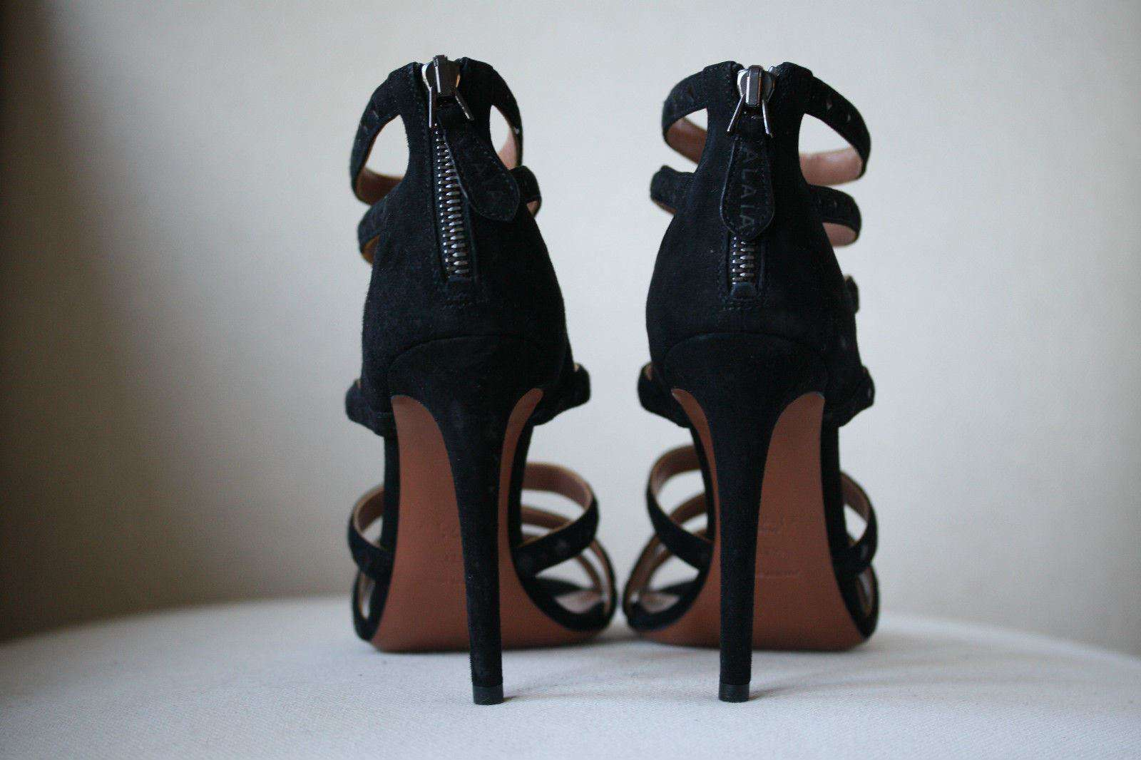 AZZEDINE ALAIA BLACK SUEDE STRAPPY SANDALS EU 37.5 UK 4.5
