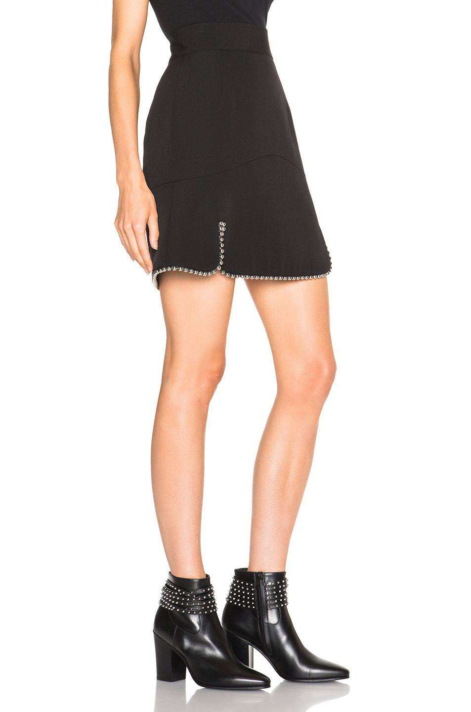 ALEXANDER WANG STUDDED WOOL A-LINE SKIRT US 4 UK 8