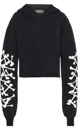 AMIRI CROPPED PRINTED COTTON JERSEY HOODED SWEATSHIRT SMALL