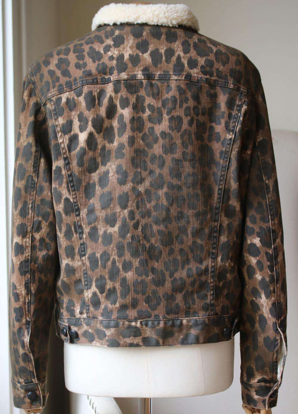 R13 FAUX SHEARLING TRIMMED LEOPARD PRINT DENIM JACKET MEDIUM