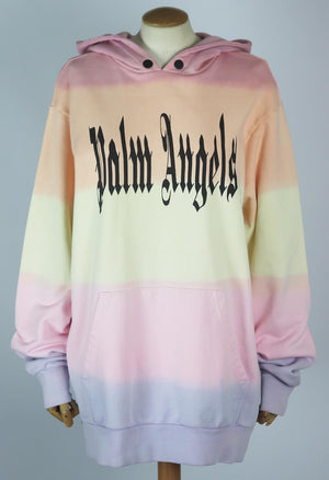 PALM ANGELS PRINTED COTTON JERSEY HOODIE SMALL