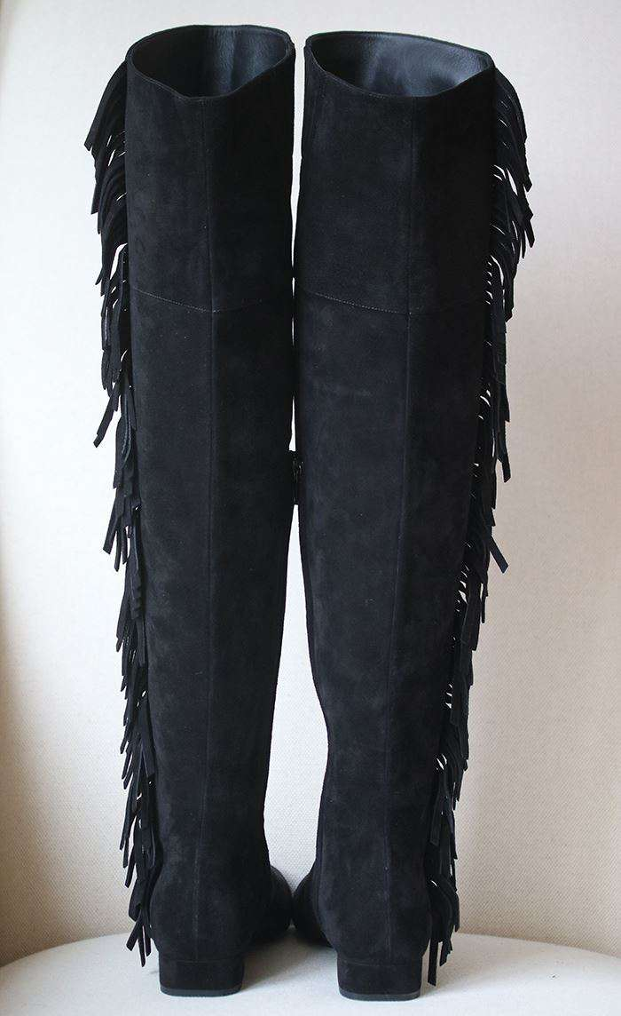 SAINT LAURENT FRINGED SUEDE OVER-THE-KNEE BOOTS EU 37.5 UK 4.5 US 7.5