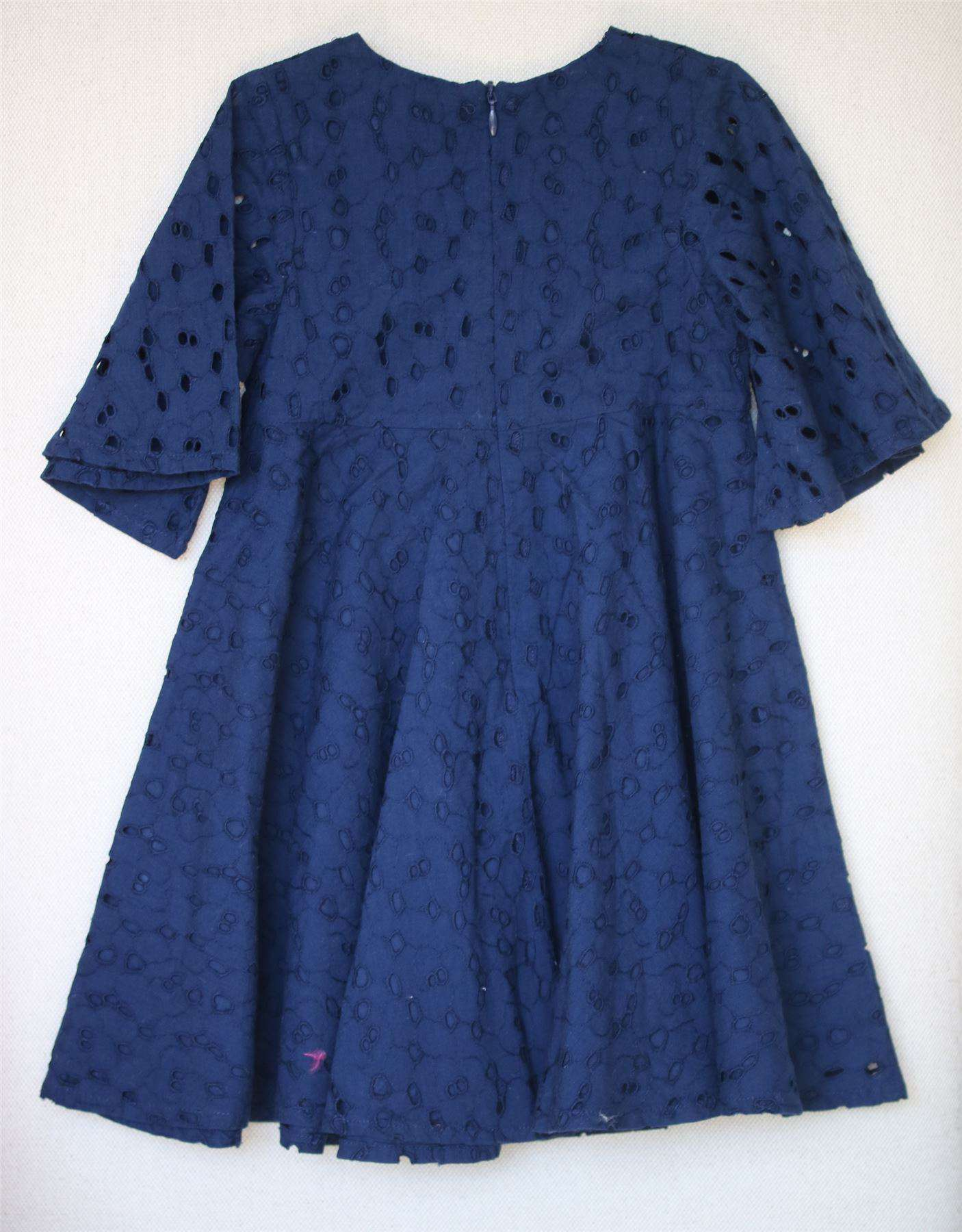 TARTINE ET CHOCOLAT GIRLS NAVY BLUE BRODERIE ANGLAISE DRESS 4 YEARS