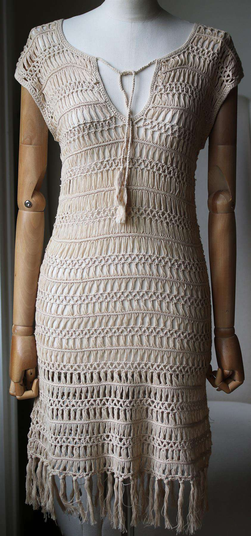 MELISSA ODABASH BARRIE MACRAMÉ COTTON DRESS SMALL