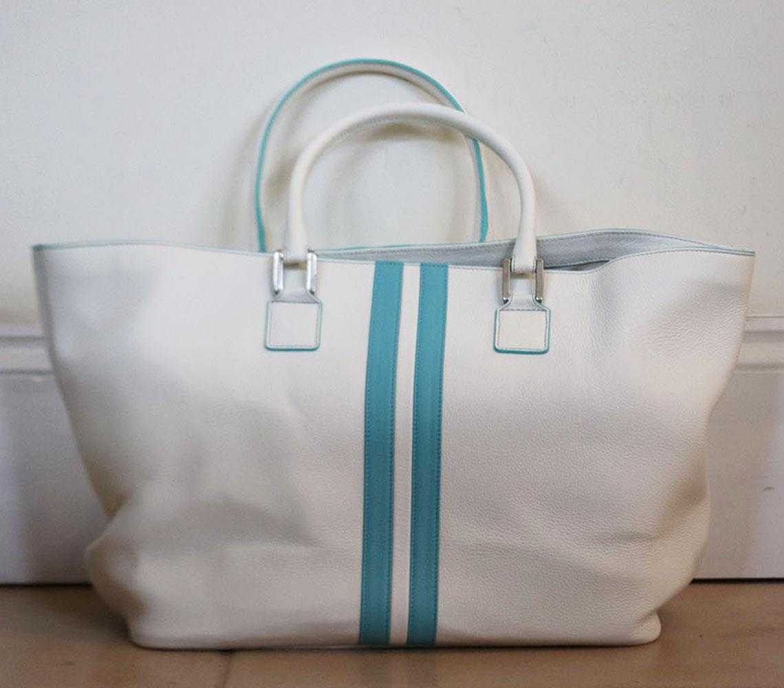 POLTRONA FRAU + RIVA STRIPED TEXTURED LEATHER TOTE BAG