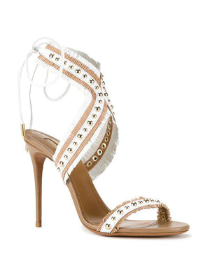AQUAZZURA LATIN LOVER STUD FRINGED LEATHER SANDALS EU 37.5 UK 4.5 US 7.5