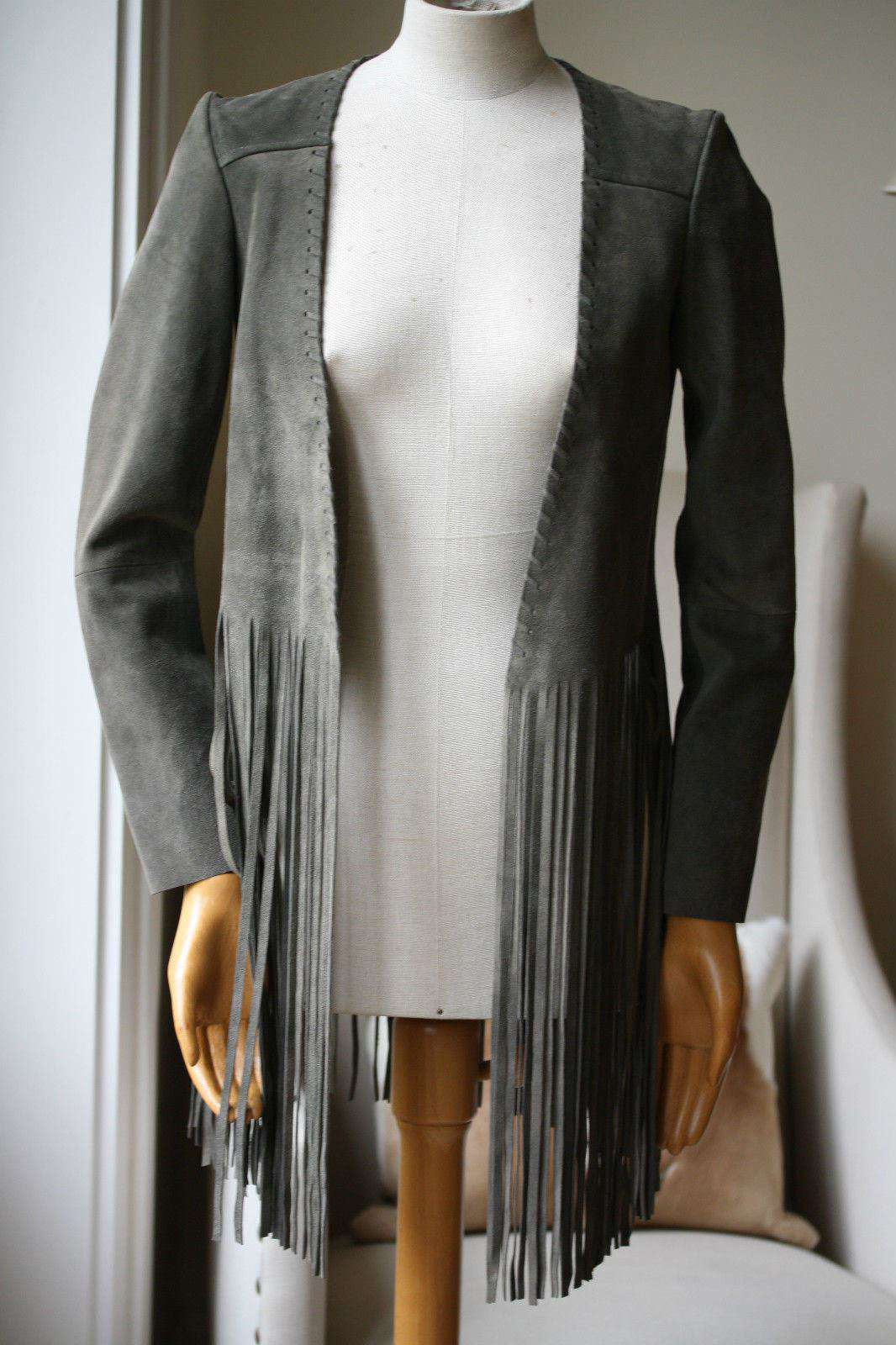 THE PERFEXT OLIVE SUEDE CHRISTY FRINGE JACKET XS