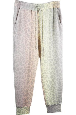 SUNDRY TIE DYED LEOPARD PRINT STRETCH JERSEY TRACK PANTS UK 12