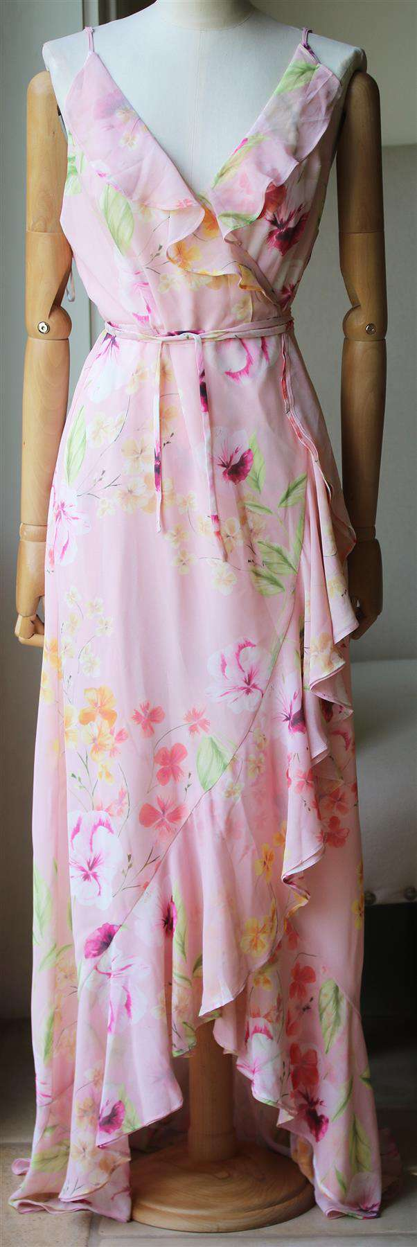 YUMI KIM MEADOW FLORAL PRINT WRAP MAXI DRESS LARGE