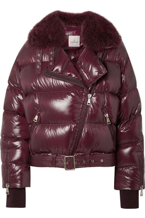 MONCLER FOULQUE SHEARLING TRIMMED QUILTED PATENT SHELL DOWN JACKET UK 10