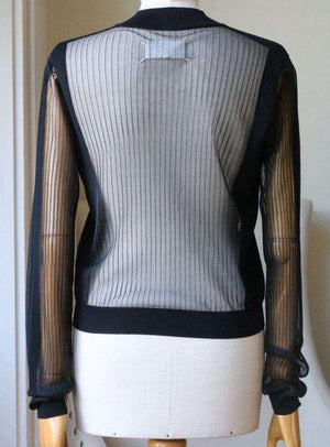 MAISON MARGIELA SHEER RIBBED WOOL BLEND SWEATER MEDIUM