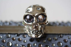 ALEXANDER MCQUEEN GREY CRYSTAL SKULL CLUTCH BAG