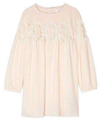 CHLOE BABY IVORY EMBROIDERED LACE DETAIL CREPE DRESS 5 YEARS