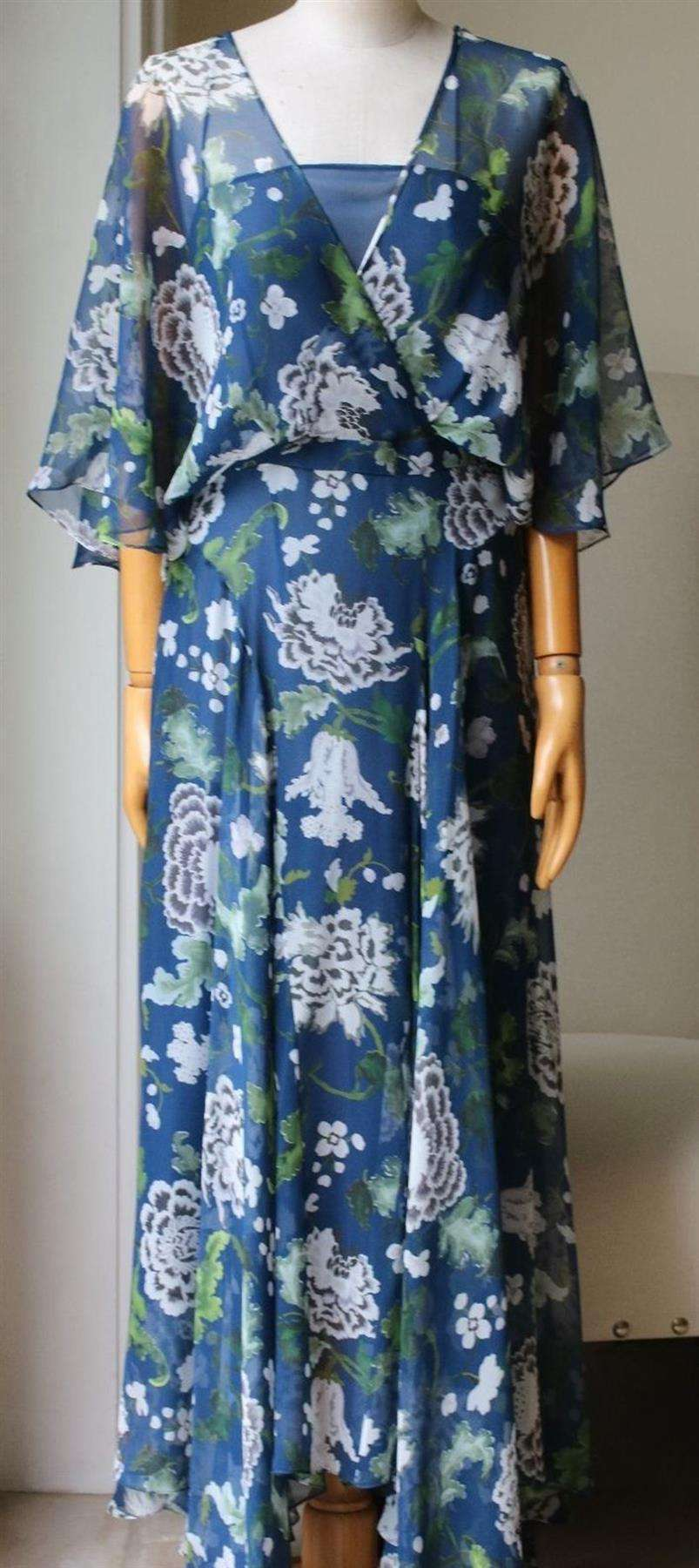ADAM LIPPES FLORAL PRINT SILK CHIFFON MAXI DRESS US 2 UK 6