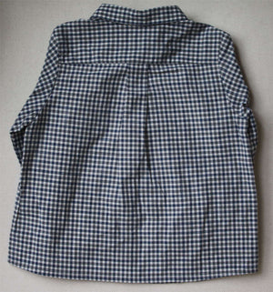 BONPOINT BABY NAVY BLUE CHECK SHIRT 18 MONTHS