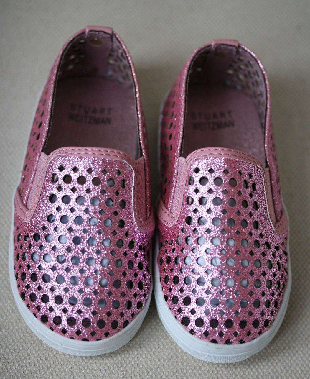 STUART WEITZMAN BABY COUNTRY PINK MINI GLITTER SHOES EU 21 UK 4.5