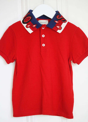 GUCCI KIDS BOYS EMBROIDERED POLO SHIRT 4 YEARS