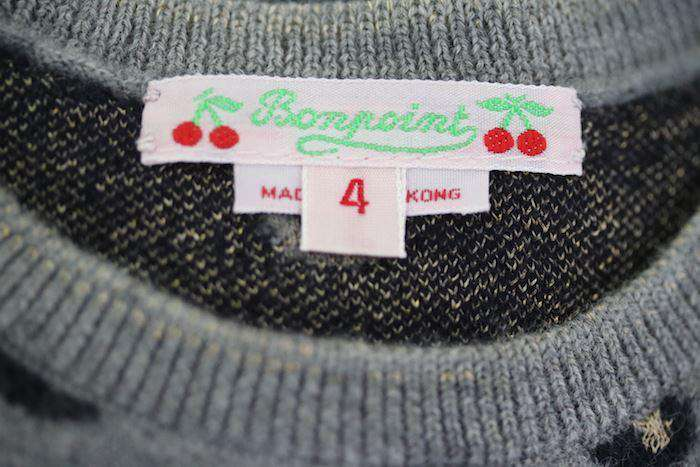 BONPOINT GIRLS GREY SWEATER 4 YEARS