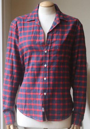 FRANK AND EILEEN BARRY CHECKED COTTON FLANNEL SHIRT XSMALL