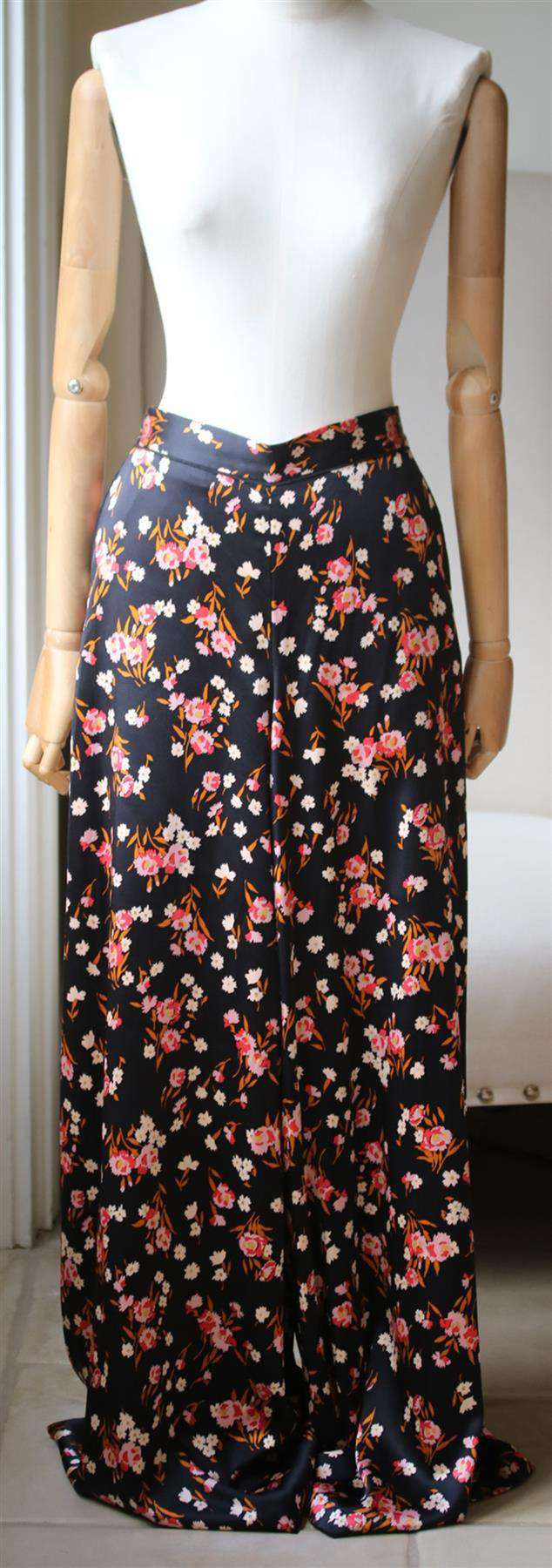 A.L.C. SETON FLORAL PRINT WIDE LEG SILK TROUSERS US 8 UK 12