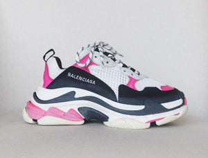 BALENCIAGA TRIPLE S SUEDE LEATHER AND MESH SNEAKERS EU 38 UK 5 US 8