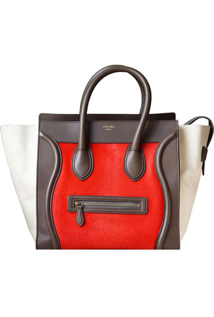 CELINE CALF HAIR AND LEATHER TRIMMED LUGGAGE BAG