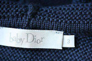 BABY DIOR NAVY WOOL HOODED JUMPER 3 MONTHS