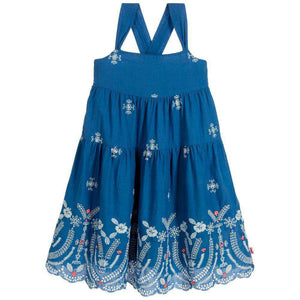 BILLIEBLUSH GIRLS BLUE EMBROIDERED COTTON DRESS 4 YEARS