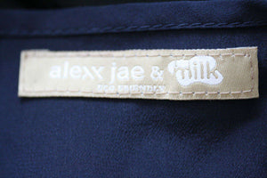 ALEXX JAE & MILK LOS ANGELES NAVY SILK DIPPED HEM DRESS MEDIUM
